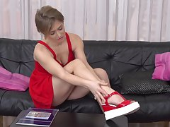 Precipitous haired kermis teen babe Alana R. strips and fingers her pussy