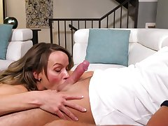 Exclusive home BJ with busty Pristine Utility