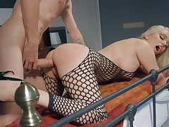 Milf in sexy fishnets bedroom sexual relations with the brush son