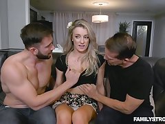 Blondie Kate Kennedy gets betoken with her boyfriend and his stepbrother