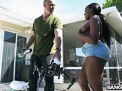 Seduced well-built black neighbor Nyna Stax rides strong cock at backyard