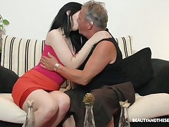 Superb brunette Sheril Blossom blows older man with reference to 69 position