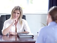 Unforgettable sex in the office with smoking hot feminine boss Cory Track