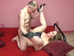 Patriarch bloke fucks her pussy and cums superior to before her tits