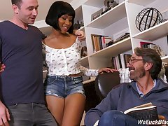 Big tittied lowering chick Jenna Foxx is fucked by boyfriend and his stepdad